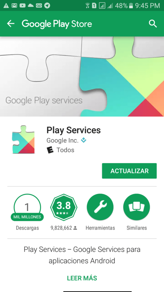 Actualización Google Play services