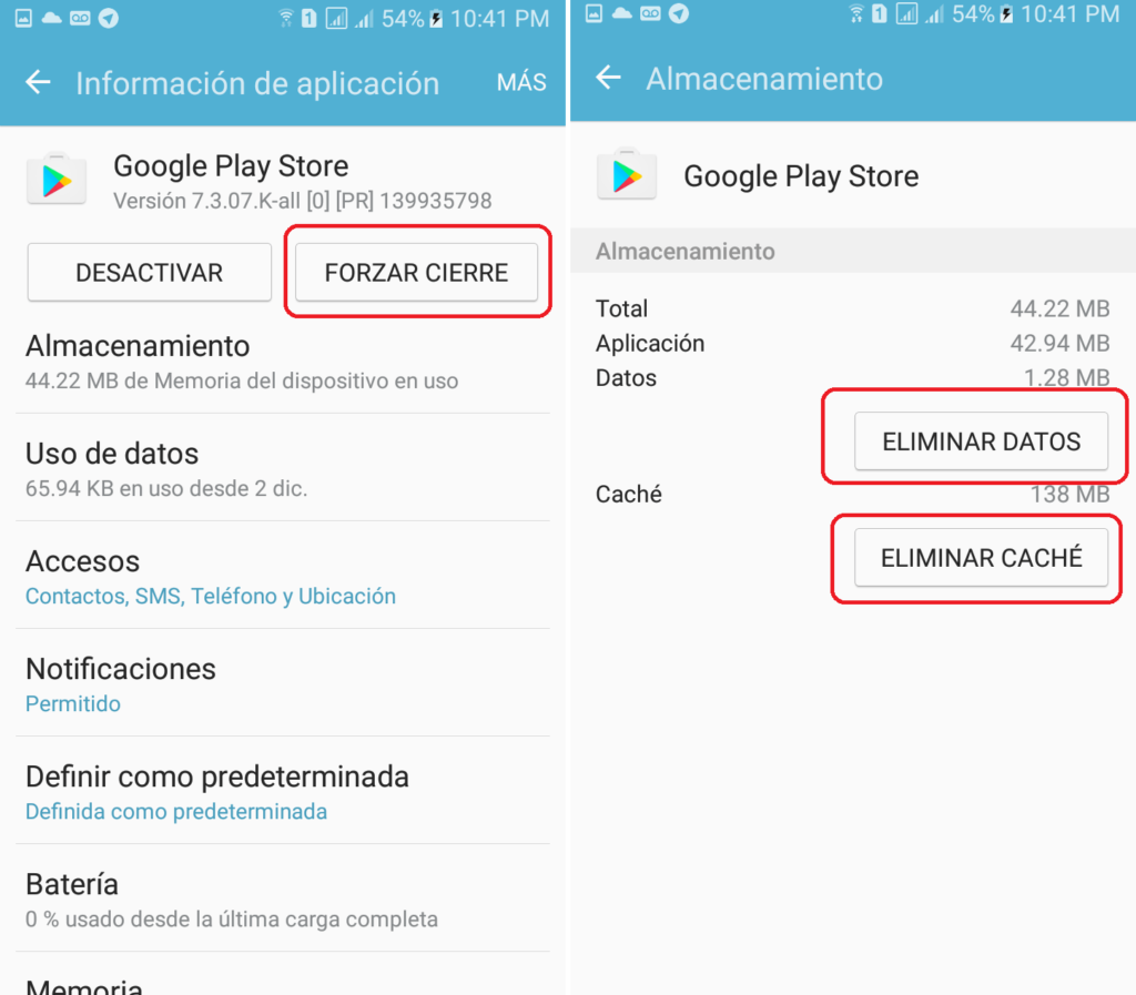 borrar datos y cache google play store