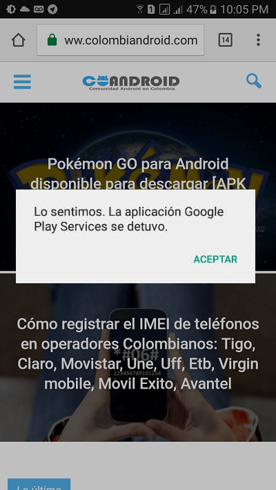 Google Play services se detuvo